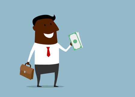 handful: Successful african american businessman with a handful of money smiling at his wealth, cartoon flat style