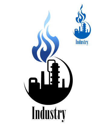 pollutants: Icon with the silhouette of a chimney at a refinery or factory belching smoke and pollutants