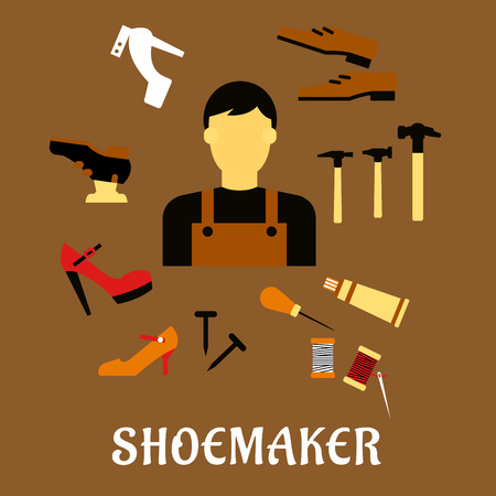 cobbler: Shoemaker profession flat concept depicting shoemaker with awl, heels, hammer, glue, nails and shoes Illustration
