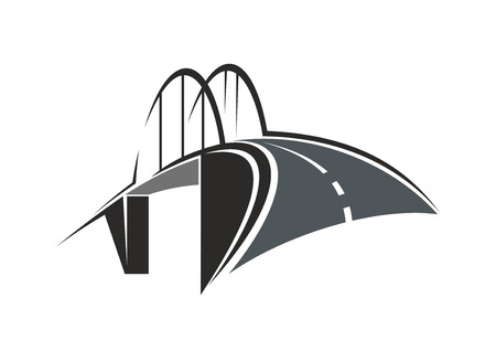 leading: Icon with road leading to the tied arch bridge, for transportation concept design