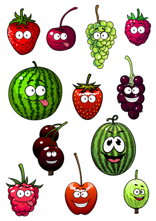 Fresh cartoon berries and fruits with watermelon, grape, strawberry, raspberry, cherry, gooseberry and currant