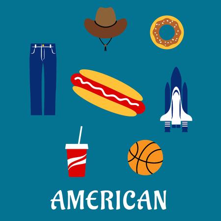 denim jeans: S�mbolos planos americanos e iconos con el transbordador espacial, perro caliente, donuts, caf� para llevar, baloncesto, pantalones de mezclilla azul y un sombrero de vaquero Vectores