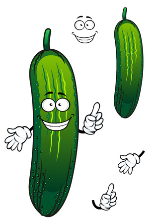 cuke: Funny cartoon green cucumber vegetable with face and hands, for agriculture or nutrition design