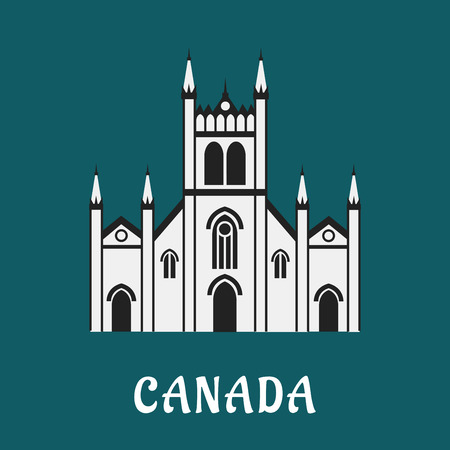gothic style: Canadian gothic temple landmark in flat style