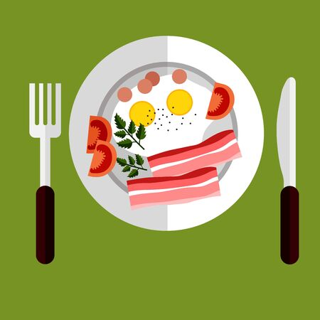 served: Tasty breakfast of fried eggs and bacon with tomato served on a plate viewed from above, flat style Illustration