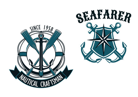 Nautical themed badges with  crossed oars over a life ring with ribbon Nautical Craftsman, and the second for Seafarer with a shield and compass over crossed anchors 矢量图像