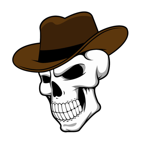 Cowboy skull wearing a stylish brown fedora hat in a halloween concept, cartoon style Vector