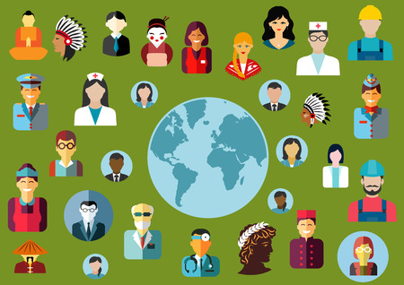 cartoon businessman: People flat avatars icons showing different  global professions both male and female grouped around a world map