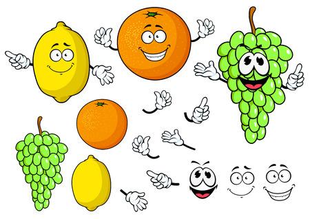 limon caricatura: Sonrientes de dibujos animados limón, naranja y uva frutas felices personajes aislados sobre fondo blanco