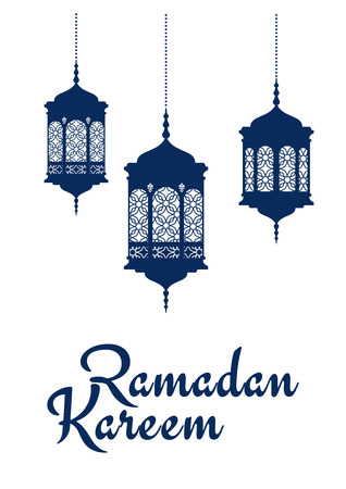 Holy Ramadan Kareem greeting card design with blue silhouettes of arabic lanterns