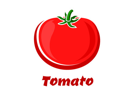 greengrocery: Cartoon red tomato vegetable isolated on white background