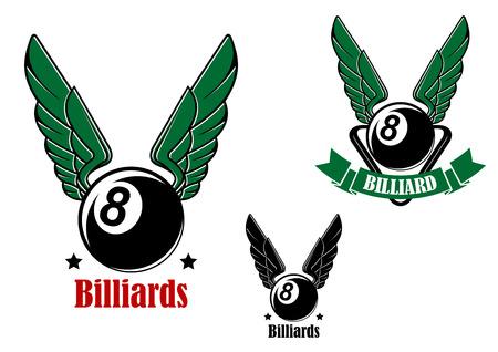 bola ocho: Alas ocho de billar o pool bola aislados sobre fondo blanco para el deporte o el símbolo del club del diseño