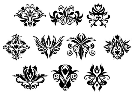 vintage ornament: Vintage black flowers and blossoms set with different shapes for retro ornament design
