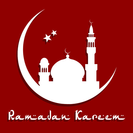 minarets: Holy Ramadan Kareem concept with mosque and minarets on a moon with stars for religious or holiday design