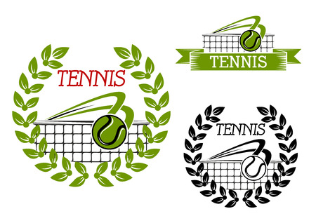 backhand: Green tennis sports game icon or symbol with ball, net and laurel wreath