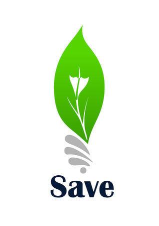 green light bulb: Light bulb symbol with green leaf for ecology or save energy concept design