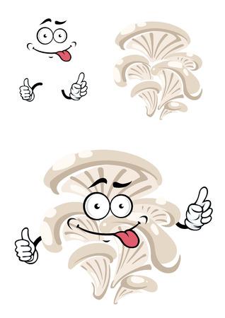 mushroom cartoon: Cartoon funny oyster mushroom character with gray caps isolated on white background