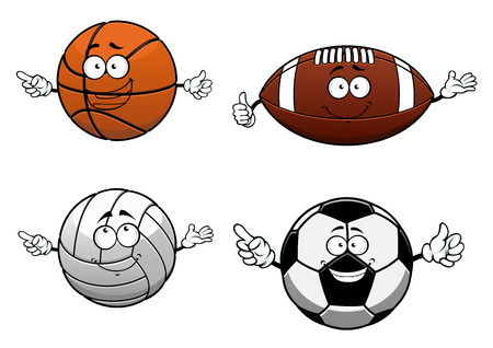 voleibol: Baloncesto deporte Cartooned, fútbol, ??voleibol y rugby pelotas aisladas sobre fondo blanco para el diseño de la mascota Vectores