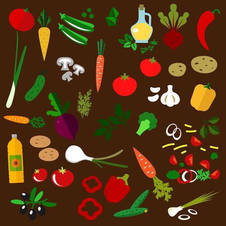 cucumber salad: Ingredientes de la ensalada de verduras frescas con remolacha, cebolla, tomate, patata, zanahoria, pepino, pimiento, aceite de oliva, ajo y hierbas