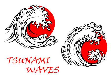 Two tsunami waves with red sun behind, for weather or east concept design