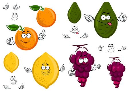 limon caricatura: Divertidos dibujos animados de color naranja, limón, aguacate y uvas aislados sobre fondo blanco Vectores