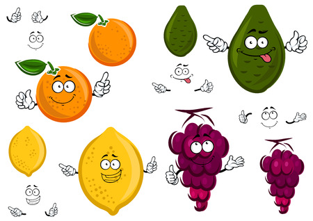 grapes in isolated: Funny cartoon orange, lemon, avocado and grapes isolated on white background