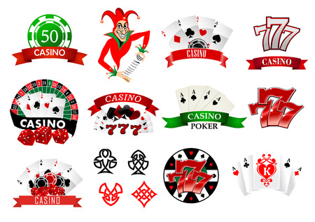 Large set of colored casino and poker icons or emblems with tokens, chips, playing cards, Joker and lucky numbers 777 Ilustração