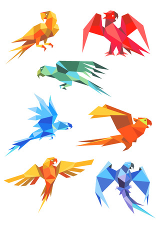 Different colorful origami paper stylized flying parrots, isolated on white background Illustration