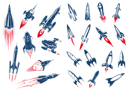 Outer space rocket ships and military missiles in cartoon style on white background Çizim