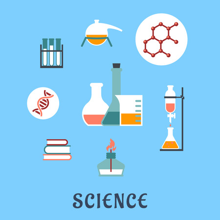 bunsen burner: Colored flat science and medical icons with research books, distillation, atomic structure, experiments, flasks and bunsen burner