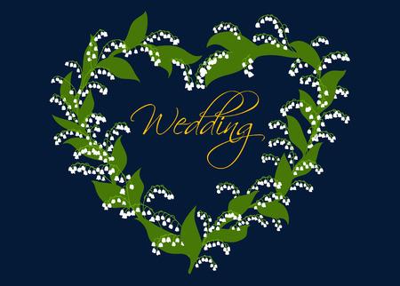 enclosing: Partecipazione di nozze o design invito con un cuore decorativo di mughetti che racchiudono la Wedding sceneggiatura Vettoriali
