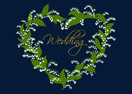 enclosing: Wedding card or invitation design with a decorative heart of lilies of the valley enclosing the script Wedding