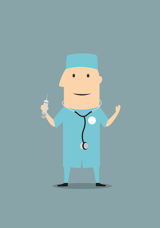 nurse injection: Funny cartoon doctor or physician in blue medical scrubs and a stethoscope while standing up and holding a syringe Illustration