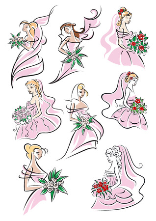 wedlock: Bride sketches in gown holding bouquet of flowers on white background for wedding and marriage design Illustration