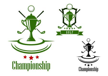 트로피 컵 검은 색과 녹색 골프 챔피언십 게임 로고 또는 배너