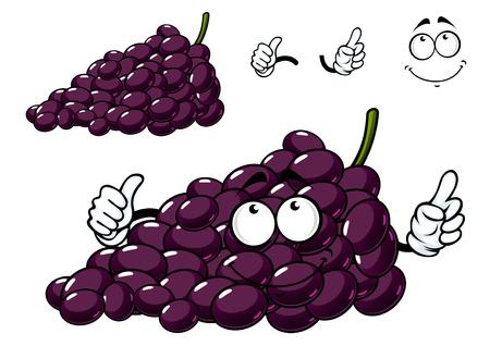 grape fruit: Funny cartoon purple grape fruit character isolated on white background Illustration