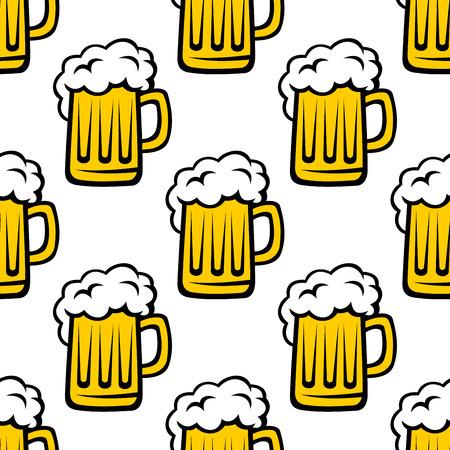 tankard: Fresh beer tankard seamless pattern for drink, bar or background design Illustration