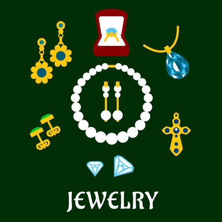 cufflink: Flat luxury gold, diamond, pearl and sapphire jewelries isolated on background Illustration