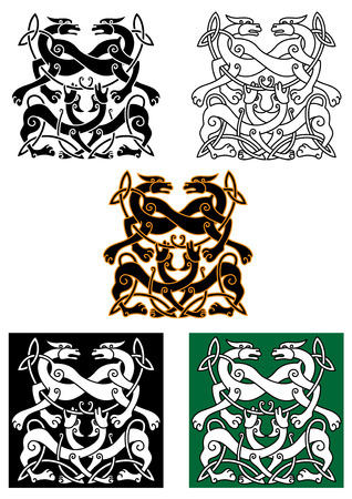 Celtic mythical dogs and wolves ornaments in tribal style, for religious, tattoo or culture design Vector