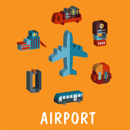 hands in the air: Colored volume airport icons with an airplane, baggage truck, terminal, scanner, bus, security pass and backpack Illustration
