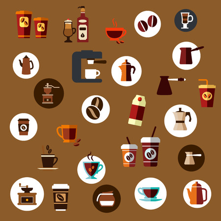 percolator: Flat coffee icons of takeaway cups, beans, coffee pots, coffee grinder, cappuccino, espresso, percolator and coffee machine