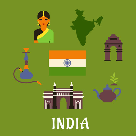 india gate: India culture and travel concept with colored icons of landmarks, woman in a sari, national flag, pot of tea and a hookah pipe