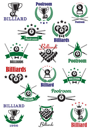 snooker: Billiards, snooker and pool emblems with balls, cues, trophy cups, wreath and decorations