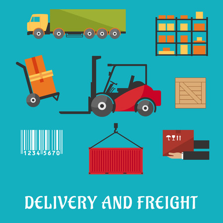 skid steer: Delivery and freight flat infographic with truck, crate, barcode, container, shelving, loader and wooden box