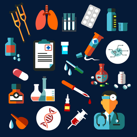 crutch: Medical flat icons with medication and diagnostics as drugs, pills, DNA, syringe, blood, doctor, tubes, flasks and prescription