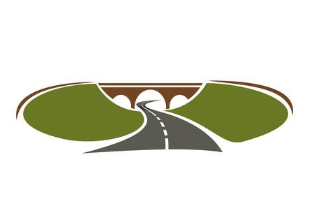 between: Icon of highway passes under bridge between green hills for transportation design