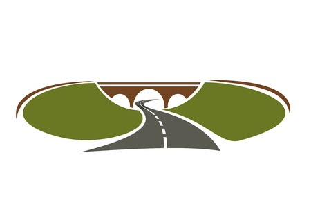 span: Icon of highway passes under bridge between green hills for transportation design