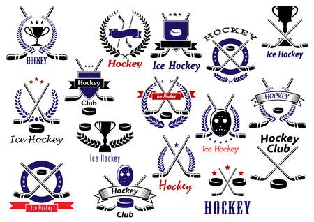 hockey hielo: Hockey sobre hielo emblemas juego deporte e insignias con discos de hockey, palos, máscaras protectoras y trofeos, escudos heráldicos, guirnaldas, banderas de la cinta y las estrellas Vectores