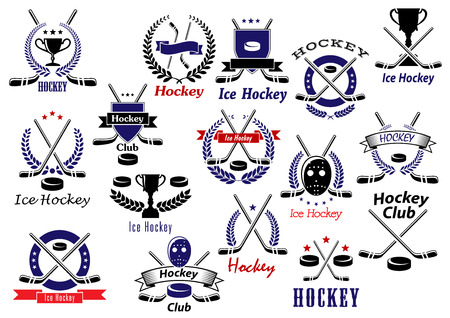 hockey equipment: Ice hockey sport game emblems and badges with hockey pucks, sticks, protective masks and trophies, heraldic shields, wreaths, ribbon banners and stars
