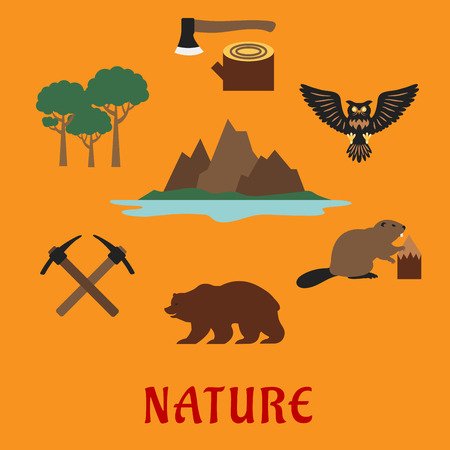 Canadian nature and travel concept showing famous nature symbols rocky mountains of the Valley of the ten peaks and Moraine lake, trees, axe on stump, owl, beaver, bear and crossed picks